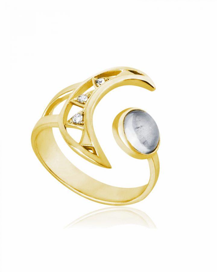 Anel em Ouro Vermeil e Pedra da Lua Crescent Moon