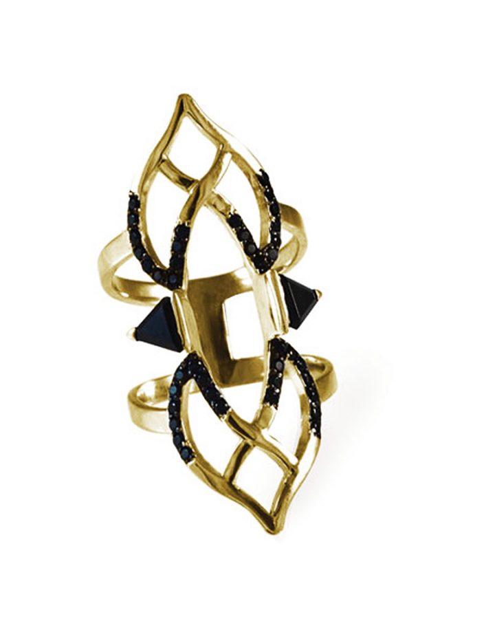 Anel em Ouro Vermeil Ônix e Espinélio Double Bow