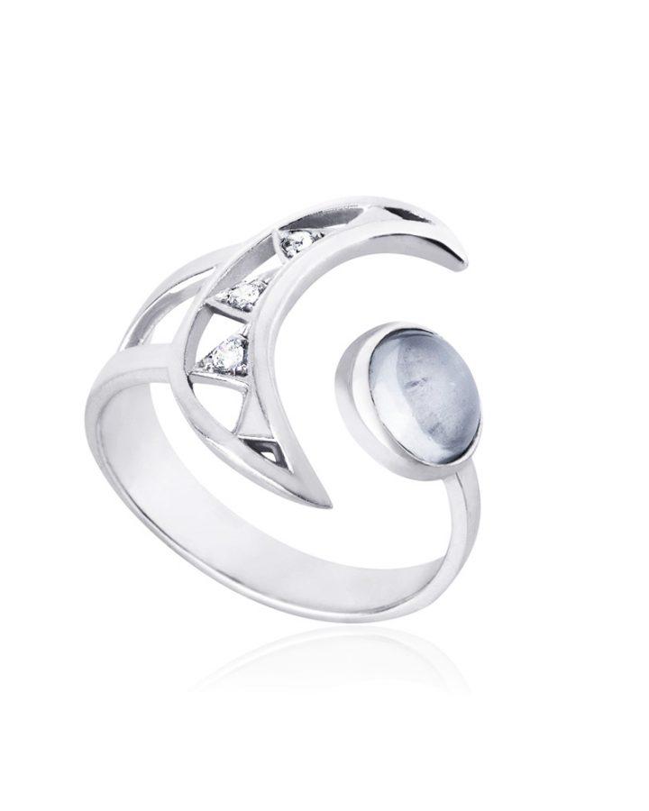 anel em prata anel crescent moon
