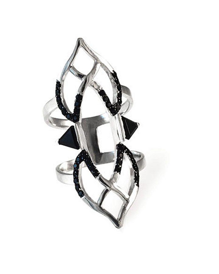 Anel Ródio Negro Ônix Espinélio Double Bow