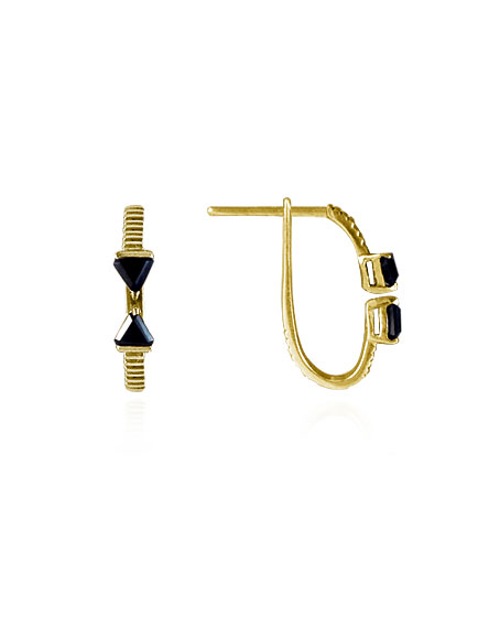 Brinco Arrow Ônix Ouro | Mel Bandeira Joias | Compre na Loja Online