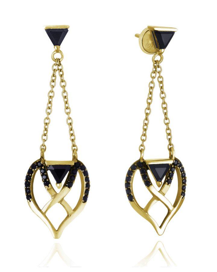 Brincos em ouro vermeil e Onix Double Bow