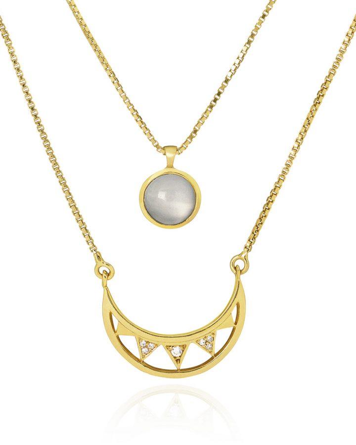 Colar Ouro Vermeil e Pedra da Lua Crescent Moon