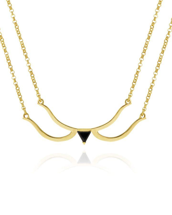 colar prata com banho de ouro ônix bow and arrow