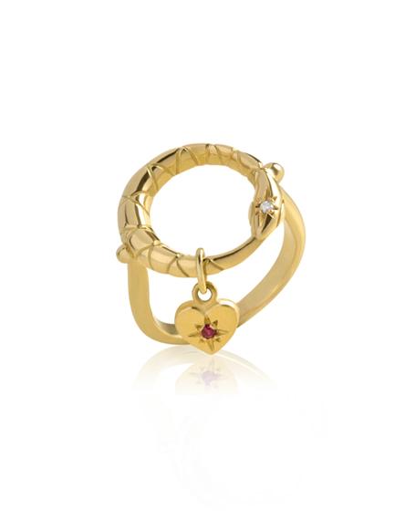 Anel Ouroboros Ouro Diamante e Rubi | Loja Online | Mel Bandeira