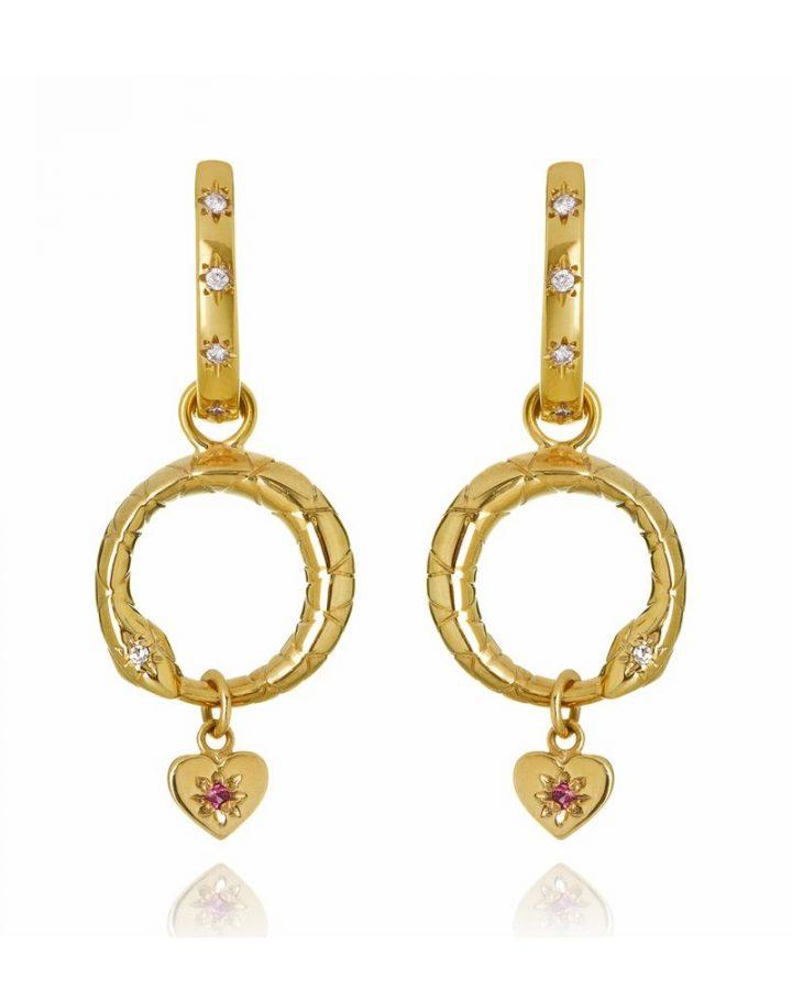 Brincos em Ouro Diamante Ouroboros