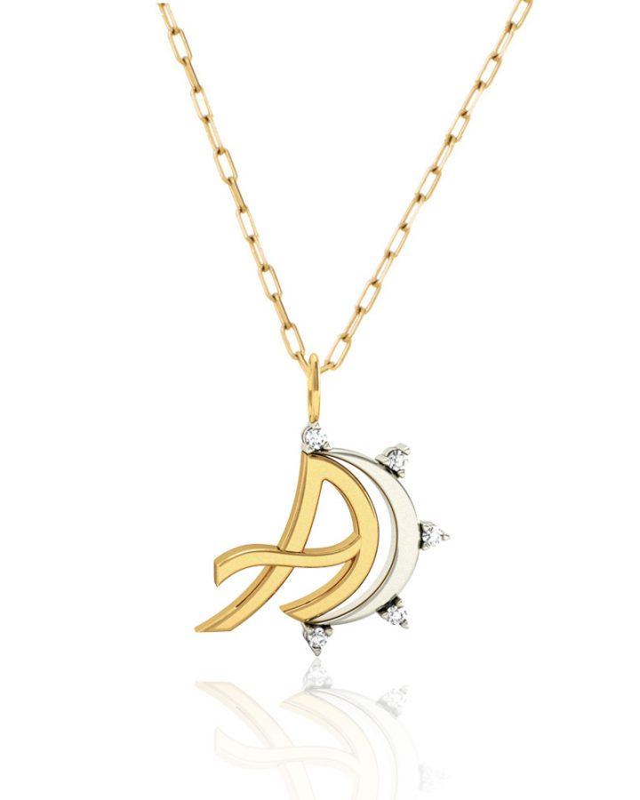 Pingente em Ouro e Diamantes Letra A Monogram