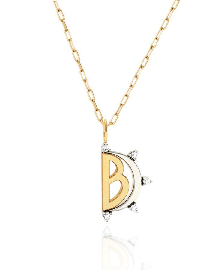 Pingente Ouro e Brilhantes Letra B Monogram