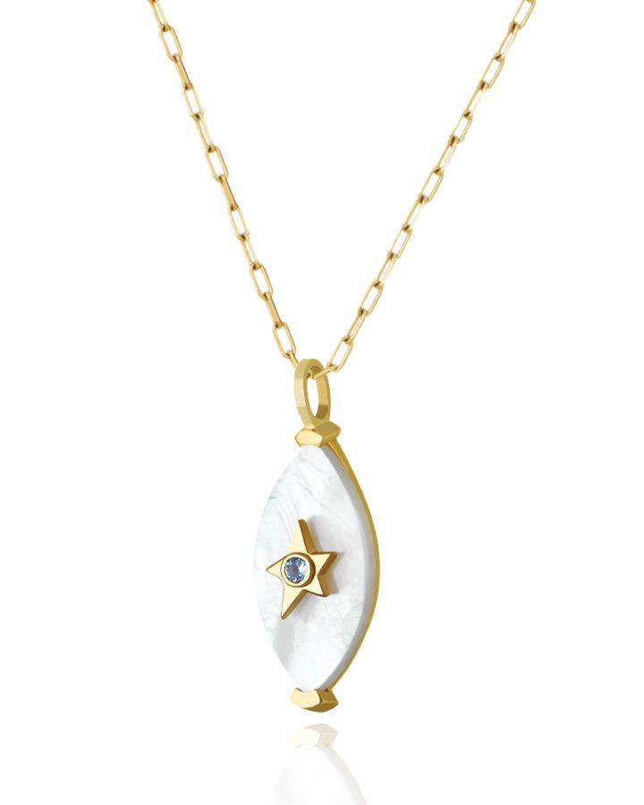 Pingente Ouro Madrepérola e Topázio Azul Estrela