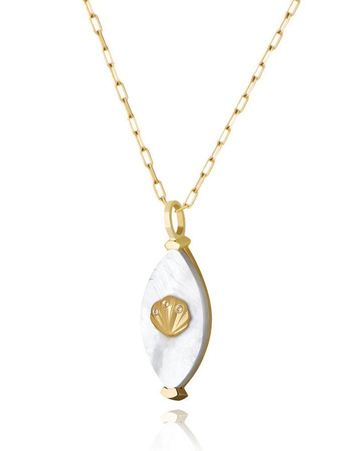 Pingente Em Ouro, Madrepérola e Diamantes Concha